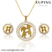 63822 Fashion Pretty CZ strass plaqué or 24k imitation en acier inoxydable ensemble de bijoux en forme avec un couple d'amoureux
