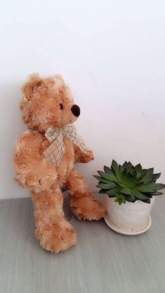 Elegant tie twist flower teddy bear