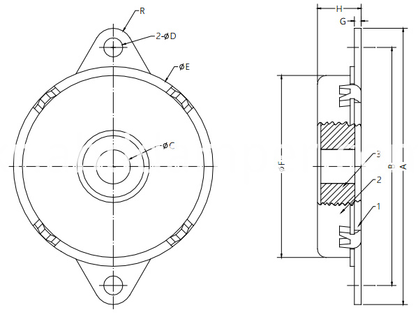Rotary Damper Drawing for Wall Chairs