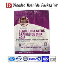 Printed Black Chia Seed Packaging Bags Plastic Food Bag