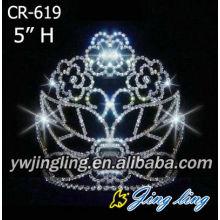 High quality beautiful rose flower Rhinestone Crowns