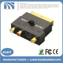 SCART auf 3 Cinch Phono Video & Audio AV Adapter mit Eingang Ausgang Schalter Neu