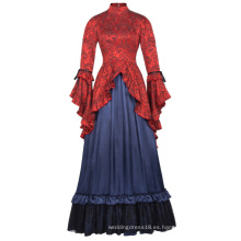 Belle Poque Retro Vintage Steampunk Victoriano Edwardian Downton Abbey Long Maxi Vestido BP000365-1