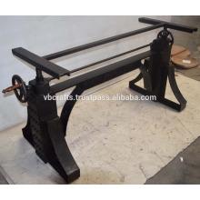 Industrial Metal Crank Table Base Natural Metal Finish