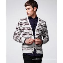100%Cotton Fashion Clothing Striped Man Sweater Cardigan