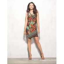 África folha Floral impressão Zip frente MIDI mulheres vestido