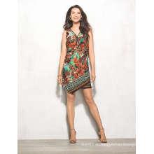 Африке листья Цветочный Принт на молнии спереди миди женщины платье