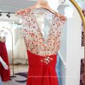 Custom Made Sexy V-neck Veja através de Bodice Royal Blue Evening Dresses 2016 Plissado Sash Beaded Open Back Long Party Dress ML194