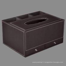Organisateur de boîte à papier en cuir de qualité avec tiroir