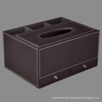 Quality Leather Tissue Paper Box Organizer with Drawer