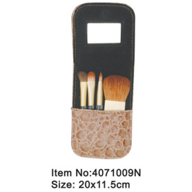 4pcs plastic handle animal/nylon hair makeup brush tool set with mirrored printed canvas case
