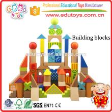 Juego de 3 años de los niños del arquitecto juguete de los ladrillos de los cabritos, madera dura de 100 pedazos de los niños juguete de los bloques