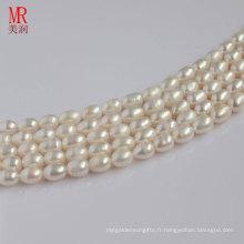 6-7mm Forme de riz blanc Forme de perles d'eau douce