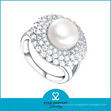 O OEM aceitou o anel de prata esterlina da pérola 925 no estoque (R-0395)