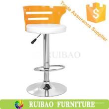 Cadeira de sapato de salto alto / cadeira de churrasco de bar exterior Assento de couro e acrílico para trás