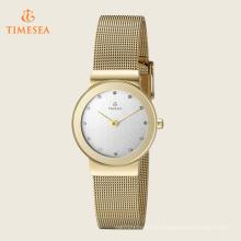 Relógio de quartzo de aço inoxidável de senhoras resistente à água 71109
