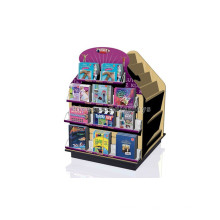 Exhibición de la librería de encargo Estantería independiente de la literatura de 4 vías, estante de madera del soporte de la literatura
