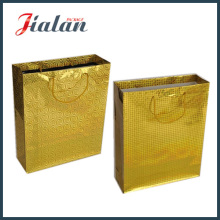 Customize Golden Color Holographic Hand Shopping Pacote Gift Paper Bag