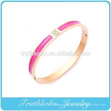 2016 Senhoras De Ouro Pulseiras De Design Em Aço Inoxidável Rosa De Ouro-Tom Vermelho Esmalte Branco CZ Oval-Forma Pulseira Em Linha On-line