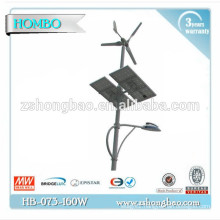 Hot sales 120W LED wind solar street lights with solar panel/ led solar street lighting