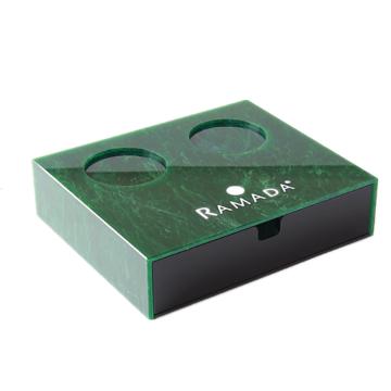 Fournitures d'hôtel de boîte de consommables acrylique émeraude