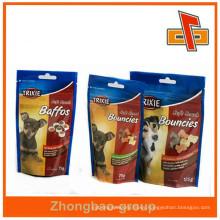 Embalaje de plástico de pie para resellable bolsa de alimentos para mascotas con cremallera superior
