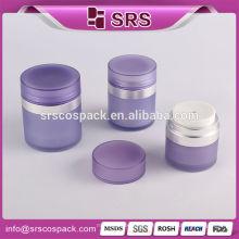 Cuidado de la Piel Embalaje de Acrílico y Forma Redonda Púrpura 15ml 30ml 50ml presionado Botella de Crema Airless Botella Dual Airless