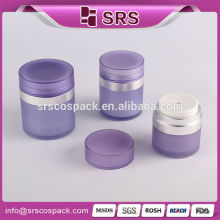 Skincare Acrylic Packaging And Round Shape Purple 15ml 30ml 50ml pressed Airless Cream Bottle Dual Airless Bottle