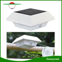 Lâmpada solar quadrada de 4 LED PIR Sensor de movimento Goteira de telhado Luz solar Lâmpada de cerca impermeável LED Solar Garden Light