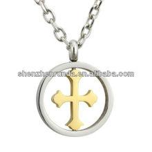 Aço inoxidável de ouro Cruz e aço Round Charm pingente de colar Fabricante & Fábrica & Fornecedor
