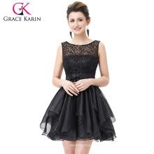 Grace Karin 2016 sem mangas V-Back Black Lace Organza Cocktail Evening Prom Festa Vestido 8 Tamanho US 2 ~ 16 GK001012-1