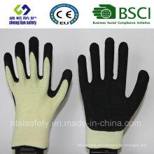 Guantes de trabajo de seguridad resistentes al corte Kevlar con guantes de seguridad revestidos con nitrilo