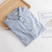 Venda quente de manga longa masculina estampada camisa regular