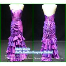 Vestido de noche de raso largo Sirena de trébol cintas de trébol Abrir Volver Vestidos de madre BYE-14065