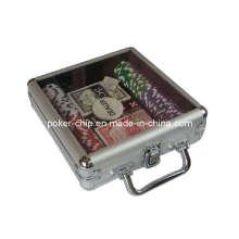 100PCS Poker Chip Set em caso de alumínio transparente da tampa (SY-S10)