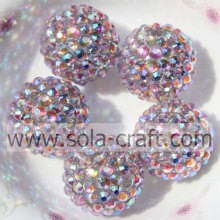 Chunky Resin Rhinestone Beads 20*22MM For Necklace Pink Multicolor