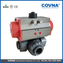 China Venda Por Atacado PVC / CPVC / PP / PVDF / UPVC válvula de esfera de plástico 3 vias para tratamento de água