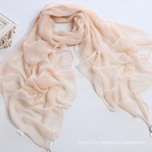 Foulard écharpe en mousseline de soie en pure couleur poli