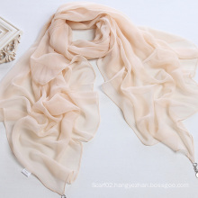 Women Pure Color Polyester Chiffon Scarf Shawl