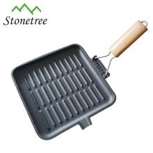 Panela de grelha de ferro fundido pré-temperada com alça removível