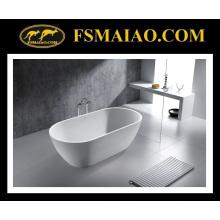 Banheira autônoma branca lustrosa da resina moderna da pedra da forma (BS-8612)