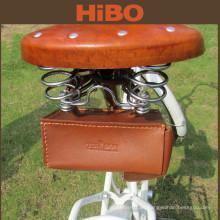 2016 alta calidad al aire libre de cuero genuino impermeable asiento de bicicleta bolsa de sillín