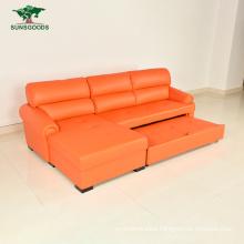 Latest L Shape Genuine Leather /Bonded /PU /Fabric Flat Bedroom Furniture Sofa Bed