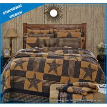 Vintage Star Design Printed Polyester Patchwork Style Bedspread Set