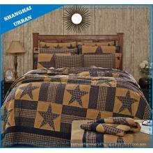 Conjunto de colcha estilo patchwork de poliéster estampado com design estrela vintage