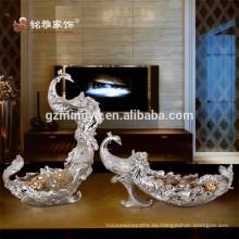 Venta al por mayor de fábrica de pavo real decorativas frutas placa de resina de lujo de frutas Compota de resina Artesanía