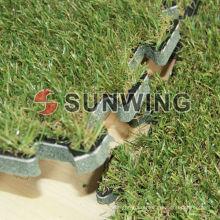 Interlocking artificial turf tile for flooring,