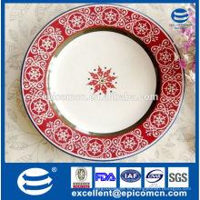 Hecho en China Placas de cena de cerámica de la impresión del copo de nieve para el banquete de la Navidad
