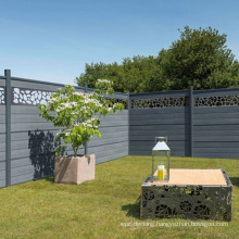 6FT 8FT Outside Trellis WPC Privacy Fence Set Against Rain Wind Aluminum Pillars Bamboo Plastic Composite Decorative Garden Fence