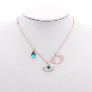 Mungil Rose Gold Blue Crystal Evil Eye Necklace